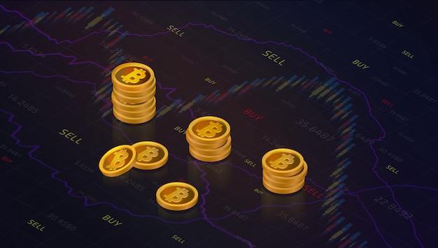 Chandelier de marché graphique ou graphisme de trading forex pour investissement financier conc Vecteur Premium