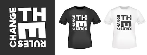 Changer Les Règles D'impression De T-shirt Pour Les T-shirts Appliqués Vecteur Premium