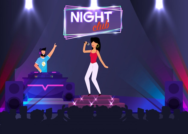 Chanteur et dj sur scène en boîte de nuit Vecteur Premium