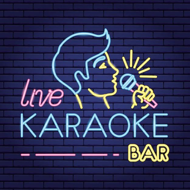 Chanteur Avec Microphone Néon Comme Karaoké Vecteur gratuit
