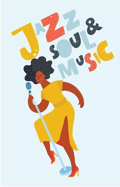 Chanteuse De Jazz Sur Scène Vecteur Premium