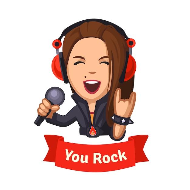 Chanteuse rock hard rocker Vecteur gratuit