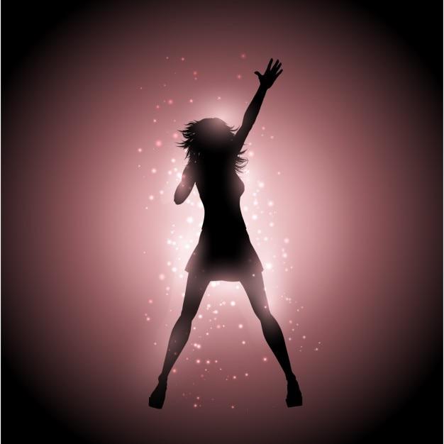 Chanteuse silhouette Vecteur gratuit