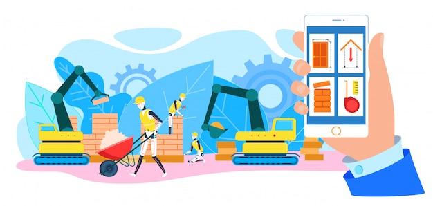 Chantier de construction de constructeurs de robots Vecteur Premium