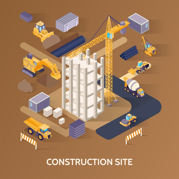 Chantier De Construction Isométrique Vecteur gratuit