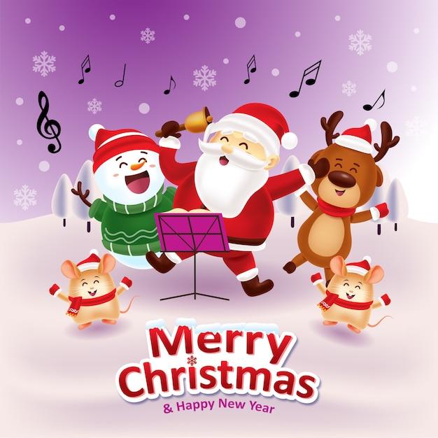 Chantons Ensemble Avec Le Père Noël Vecteur Premium