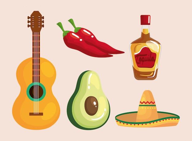 Chapeau De Bouteille De Tequila Mexicain Guitare Avocat Et Piments Vecteur Premium