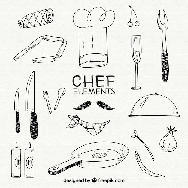 Chapeau De Chef Et Autres éléments En Style Dessiné Vecteur gratuit