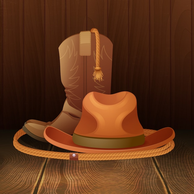 Chapeau de cowboy bottes et lasso sur fond en bois Vecteur gratuit