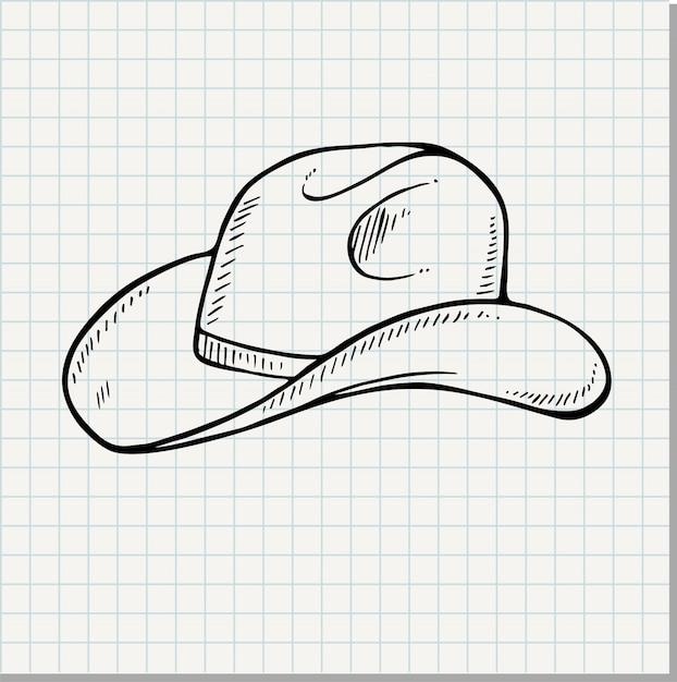 Chapeau de cowboy - illustration vectorielle vintage gravé (style doodle) Vecteur Premium