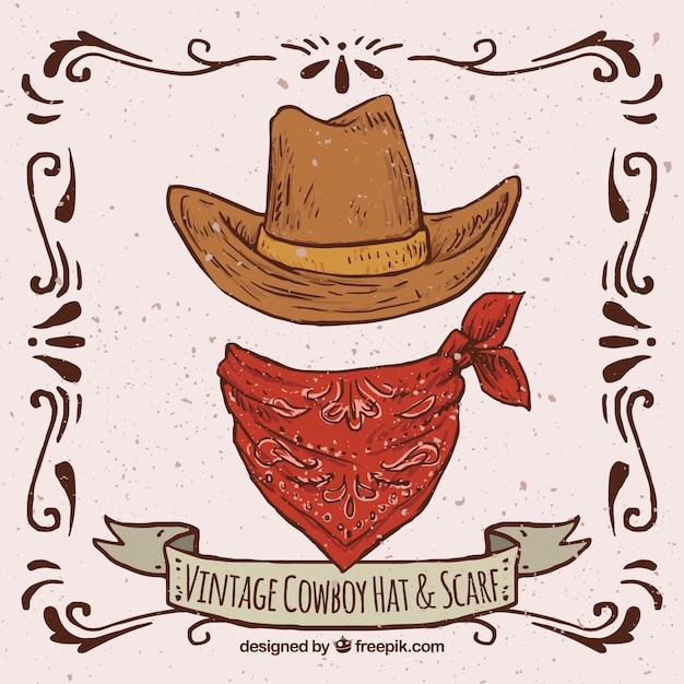 Chapeau de cowboy rétro et écharpe Vecteur gratuit