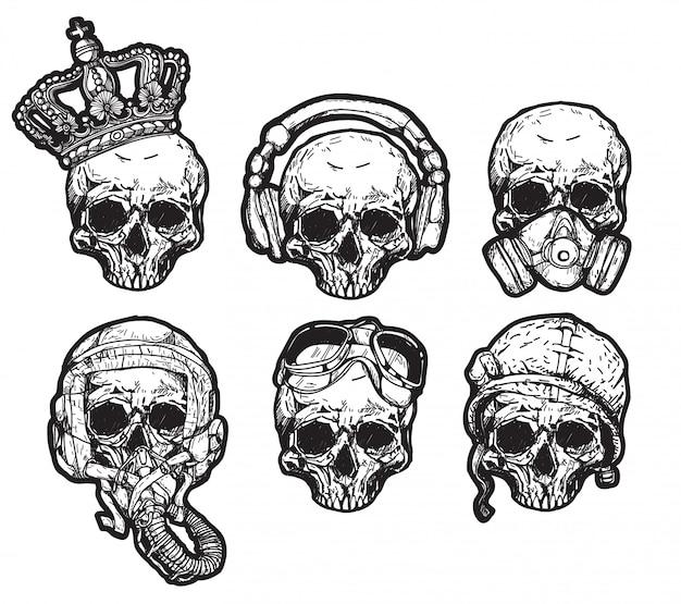 Chapeau de crâne de tatouage Vecteur Premium