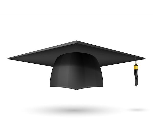 Chapeau diplômé d'illustration vectorielle avec un gland. graduation de symbole. le sujet d'un diplômé universitaire, une coiffe traditionnelle. Vecteur Premium