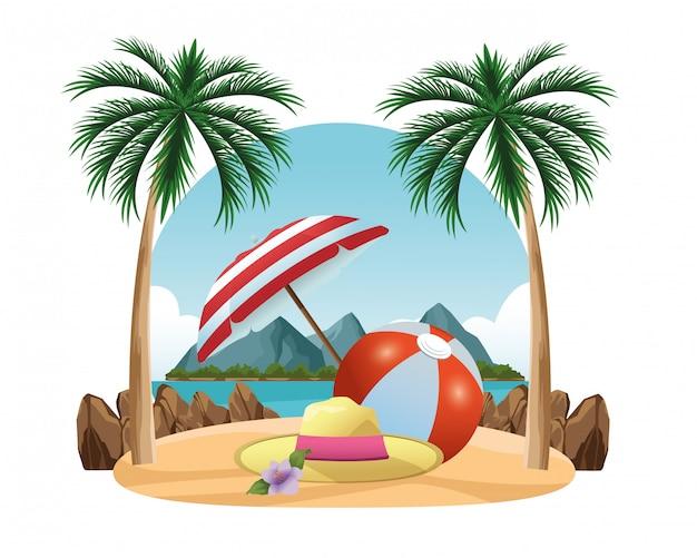 Chapeau d'été et ballon de plage sous un parapluie Vecteur Premium
