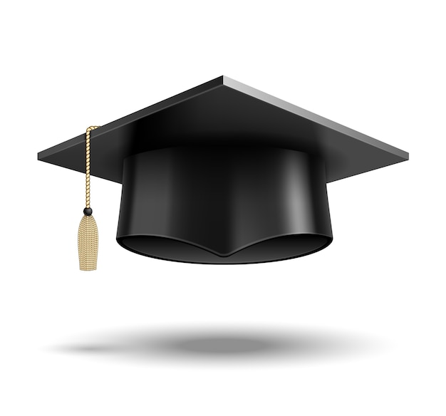 Chapeau D'étudiant De Vecteur Isolé Sur Blanc Vecteur gratuit