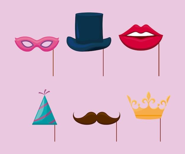 Chapeau de fête et accessoires fête décorative en bâton Vecteur gratuit