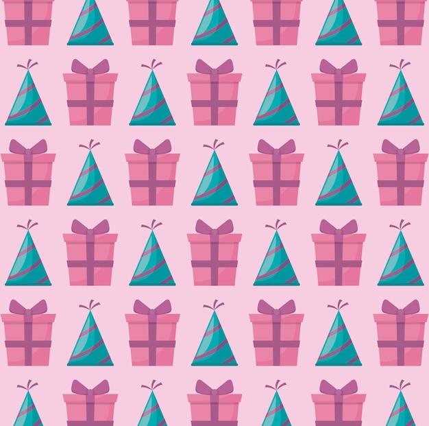 Chapeau De Fête Avec Motif Cadeau Boîte Cadeau Vecteur gratuit