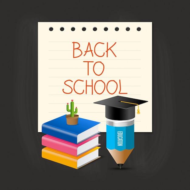 Chapeau De Graduation, Crayon, Livre Et Cactus Sur La Note De Papier Avec Retour à L'école Des Mots. Vecteur Premium