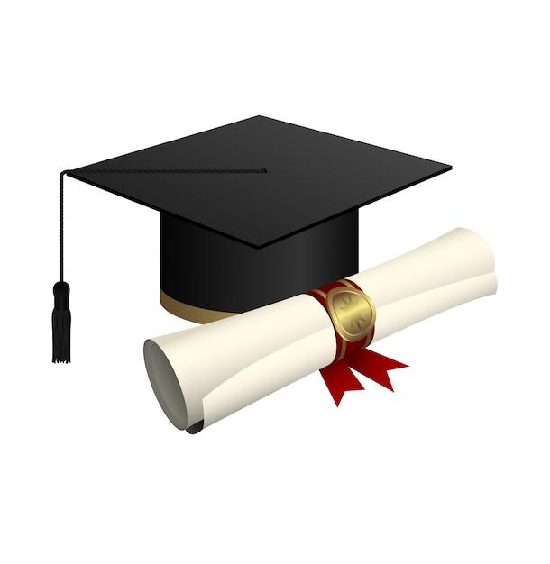 Chapeau De Graduation Et Illustration De Conception De Diplôme Isolé Sur Fond Blanc Vecteur Premium