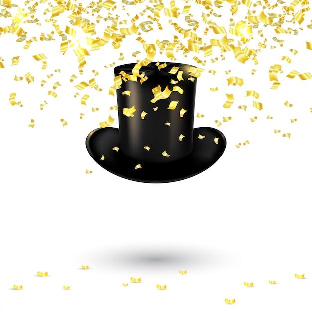 Chapeau noir pour homme avec confettis et serpentine d'or. illustration vectorielle Vecteur Premium