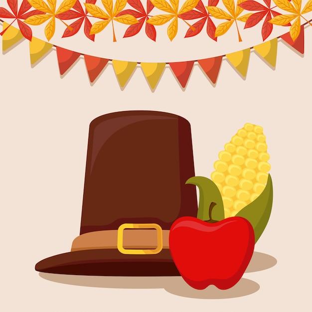 Chapeau de pèlerin du jour de l'action de grâce avec des épis et des pommes Vecteur Premium
