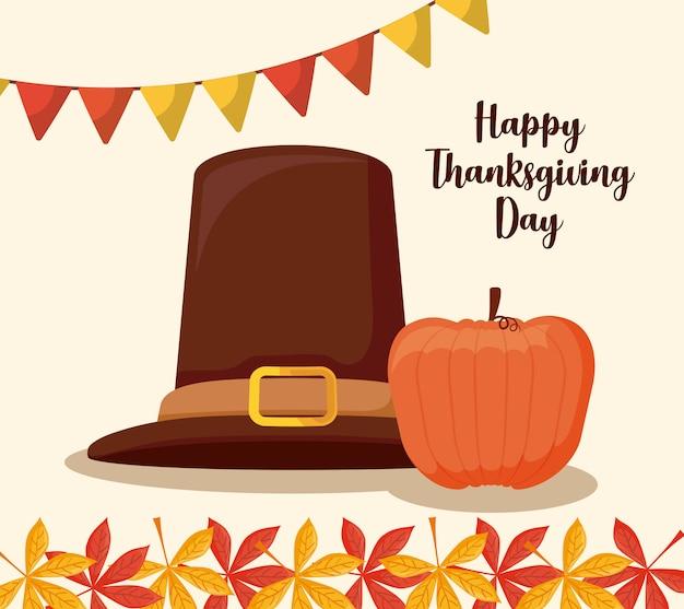 Chapeau de pèlerin du jour de thanksgiving avec citrouille Vecteur Premium