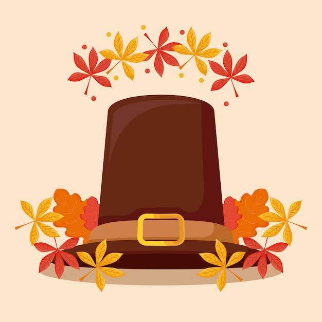 Chapeau de pèlerin du jour de thanksgiving avec leafs Vecteur Premium