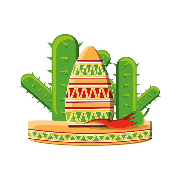 Chapeau sombrero mexicain traditionnel Vecteur Premium
