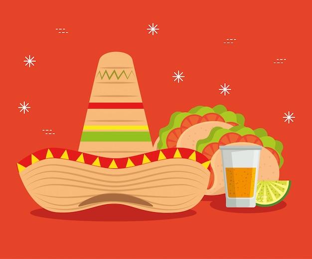 Chapeau Avec Tacos Et Tequila Au Mexique Vecteur gratuit