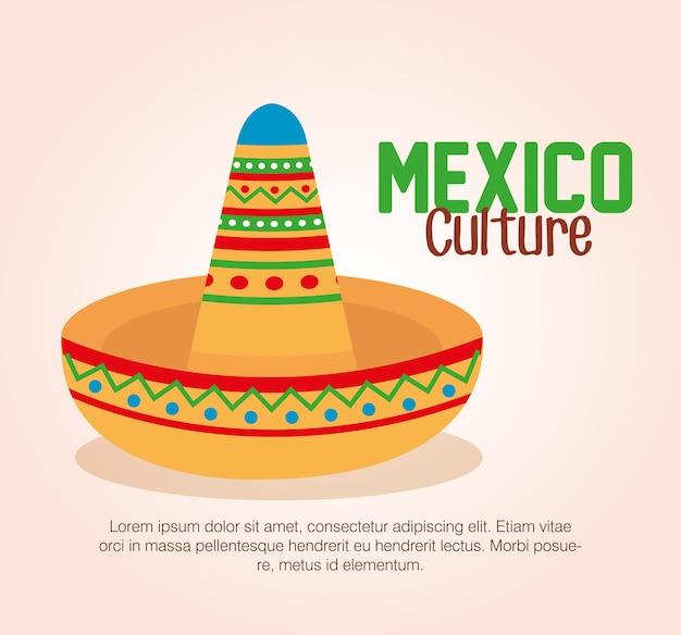 Chapeau traditionnel de culture mexicaine Vecteur Premium