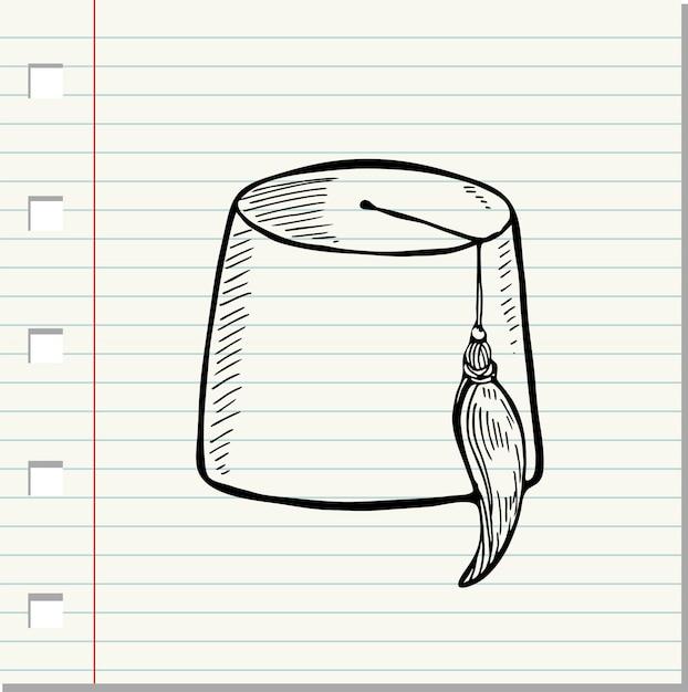 Chapeau turc de vecteur isolé fès sur fond blanc (style doodle) Vecteur Premium