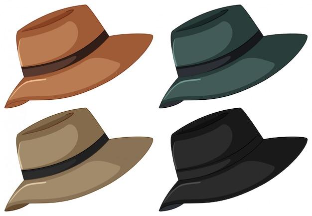 Chapeaux En Quatre Couleurs Vecteur gratuit