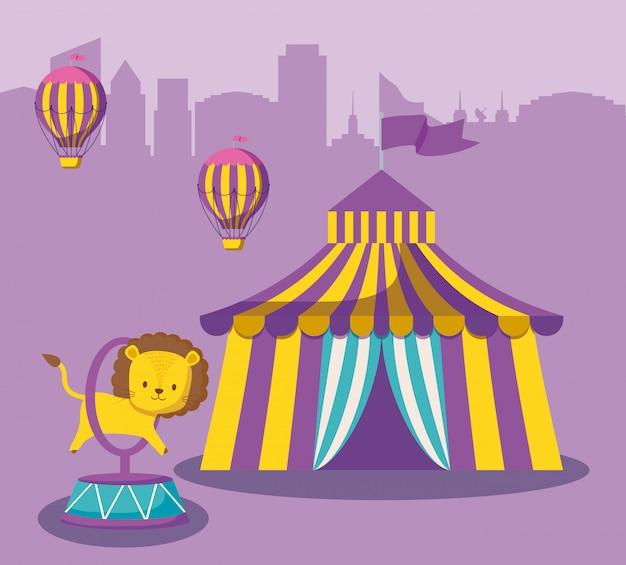 Chapiteau de cirque avec animal mignon et ballons chauds Vecteur Premium