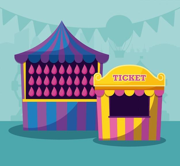 Chapiteau de cirque avec ticket de vente Vecteur Premium