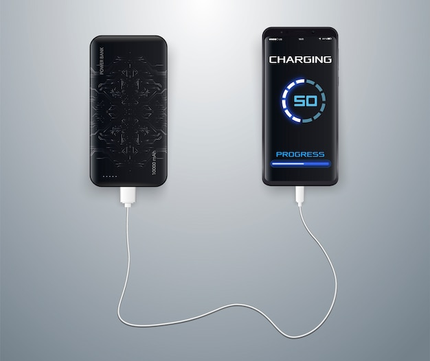 Chargé Sans Fil Sur Un Bleu. Chargement Sans Fil. Recharge Sans Fil De La Batterie Du Smartphone. Vecteur Premium