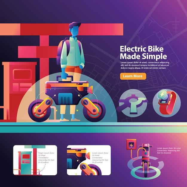 Charge Le Transport En Vélo Urbain électrique Pour L'activité Quotidienne De L'homme Occupé Vecteur Premium