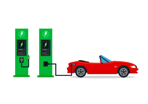 Chargement De La Voiture électrique à La Station De Charge. Illustration Vectorielle, Design Plat. Vecteur Premium