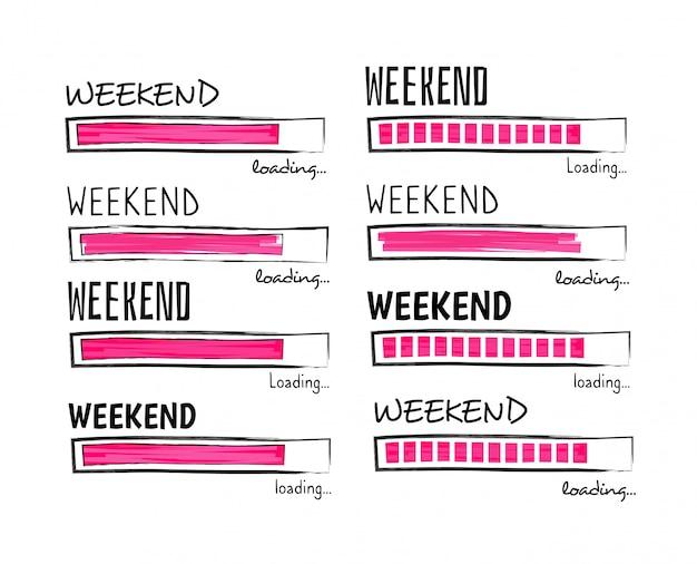 Chargement Le Week-end. Happy Friday Meme Quote Business Drôle Vecteur Premium