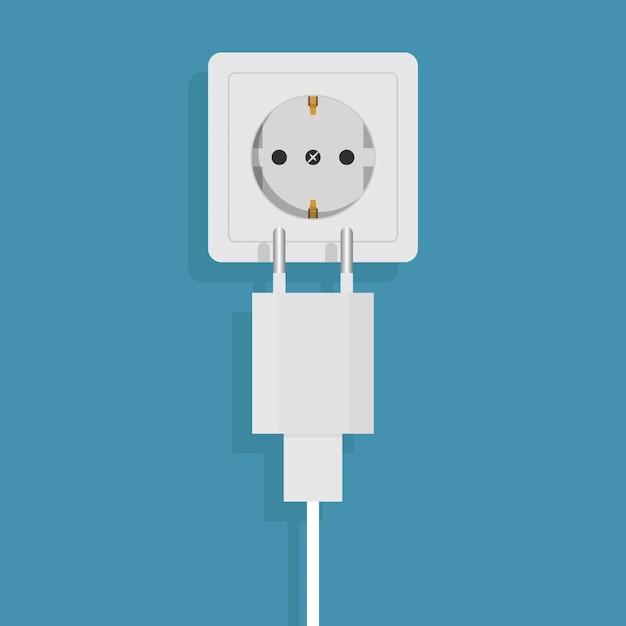 Chargeur De Téléphone Intelligent Sur Illustration Vectorielle Bleu, Design Plat Vecteur Premium