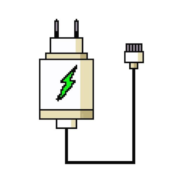 Chargeur De Téléphone Pixel Art. Icône De Jeu Web Isolé Sur Fond Blanc. Vecteur Premium