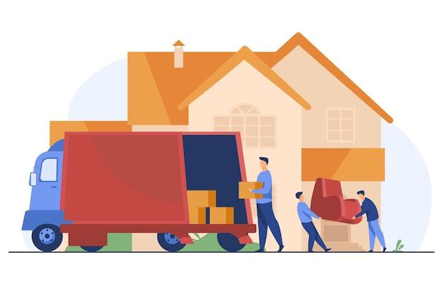 Chargeurs Transportant Un Fauteuil Et Des Boîtes Dans Une Nouvelle Maison Vecteur gratuit