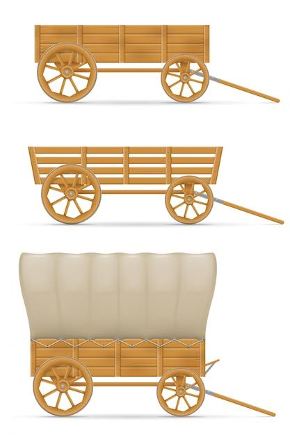 Chariot En Bois Pour Illustration De Cheval Vecteur Premium
