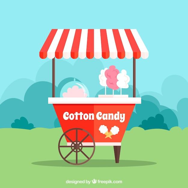 Chariot à Confiserie En Coton à La Nature Vecteur gratuit