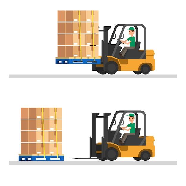 Chariot élévateur avec des conteneurs et des palettes en bois. illustration vectorielle entrepôt Vecteur Premium