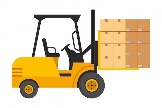 Chariot élévateur avec illustration de boîtes Vecteur Premium