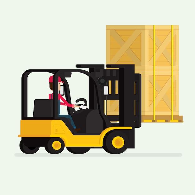 Chariot élévateur avec ouvrier humain et boîtes Vecteur Premium
