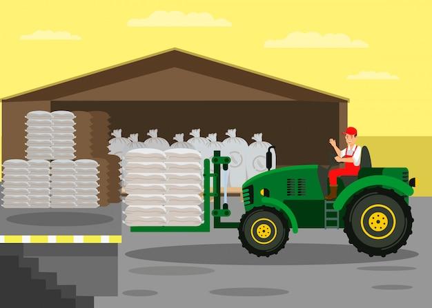 Chariot élévateur, tracteur, entrepôt, illustration vectorielle Vecteur Premium