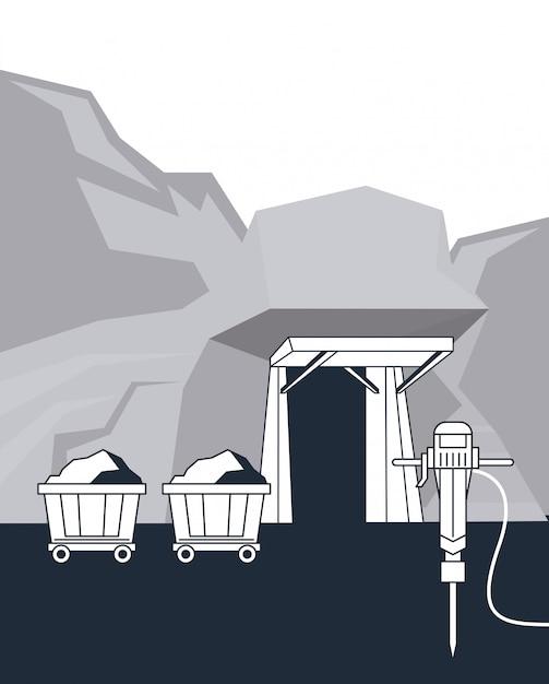 Chariot d'extraction et outils Vecteur Premium