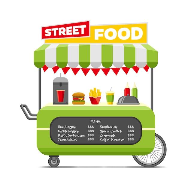 Chariot de nourriture de rue rapide. Vecteur Premium