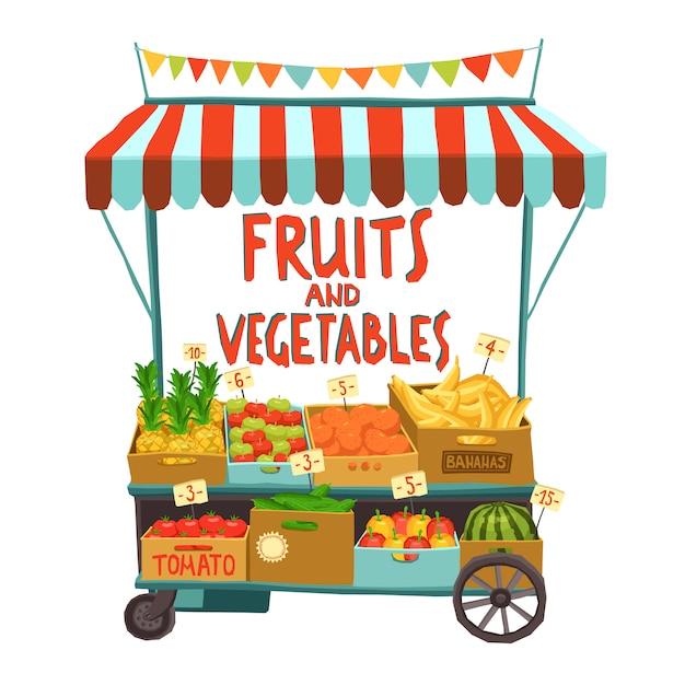 Chariot de rue aux fruits Vecteur gratuit